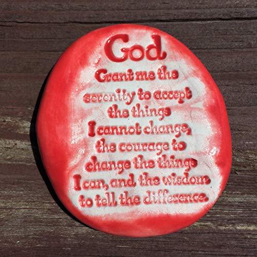 SERENITY PRAYER Pocket Stone - Scarlet Red Art Glaze - Inspirational Art Piece by Inner Art Peace