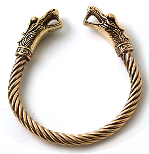 [Bronze Norse Viking Mjolnir Dragon Head Twisted Cable Bangle Cuff Bracelet Arm Ring Pagan Jewelry] (Dragon Warrior King Adult Mens Costumes)