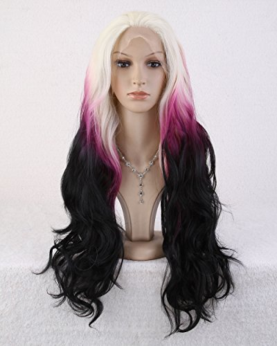 Cool2day 65cm Long Curly Anime Costume Colorful Hair Heat Resistant Lace Front Wig +Wig Cap LS20