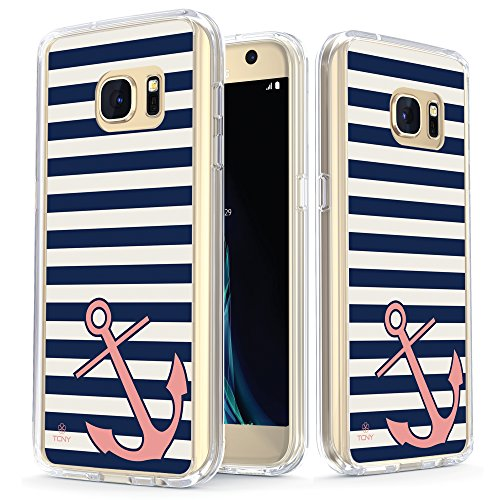 Samsung Galaxy S7 Anchor Case - True Color Clear-Shield Nautical Coral Anchor on Stripes Printed on Clear Back - Perfect Soft and Hard Thin Shock Absorbing Dustproof Full Protection Bumper Cover