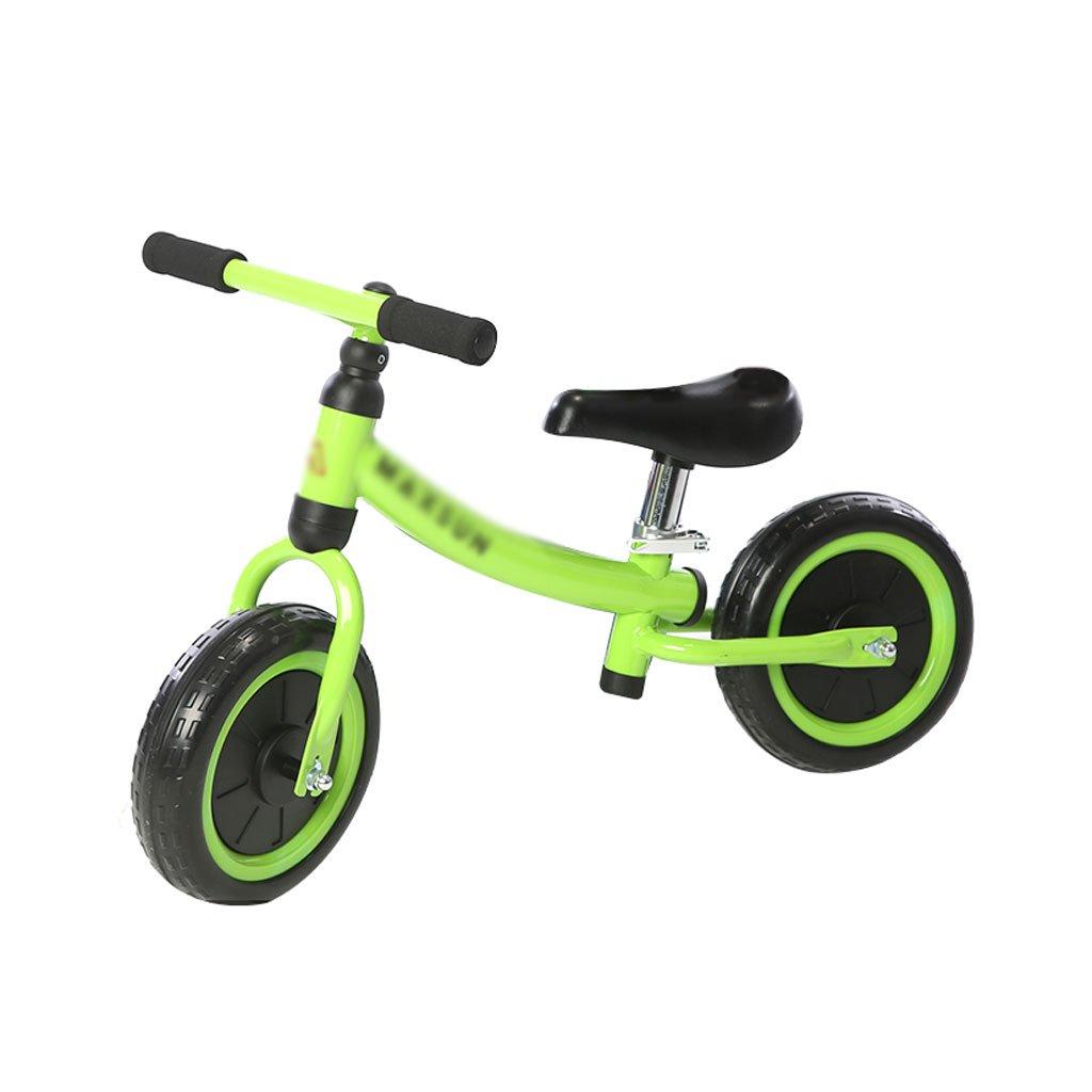 ベビースクーター子供用スクーターペダルなしバギー子供ダブルホイール自転車なしペダル2輪スクーター2ラウンドバランスカー1-6歳 B07F57FD3F Green Green
