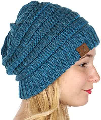 46f517874ae SERENITA C.C Unisex Warm Chunky Soft Marled Cable Knit Slouchy Beanie Hat