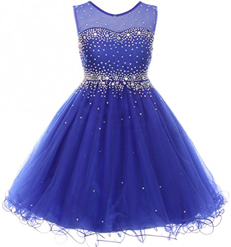 Big Girls' Sparkling Rhinestone Illusion Tulle Junior Bridesmaid Pageant Flower Girl Dress Royal 16 ()