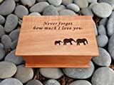 jewelry box, music box, custom made music box, Never forget how much I love you, elephants, elephant family, handmade jewelry box, anniversary gift, simplycoolgifts
