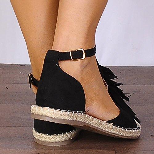 Shoe Closet Ladies Black Flat Espadrilles Canvas Fringed Sandals Shoes LtjERz