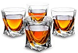 KANARS Rocks Glasses - Set of 4 - Twisted Shaped Old Fashioned Whiskey Glasses - Premium 10 oz Tasting Tumblers for Scotch Drinking and Bourbon Tasting - Blue Gift Box for Men or Women