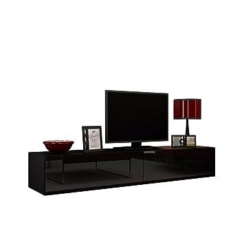 Tv lowboard schwarz  TV Schrank Vigo, Fernsehschrank, TV Lowboard mit Grifflose Öffnen ...