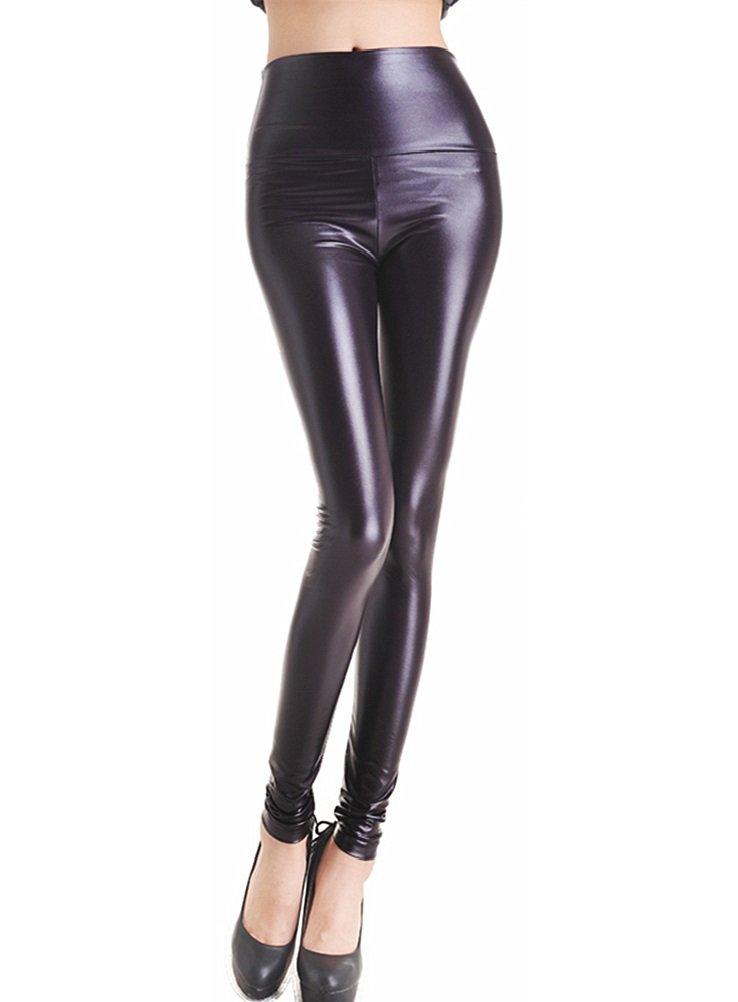 EDENKISS Women's High Waist Leather Legging Medium Size Dark Purple