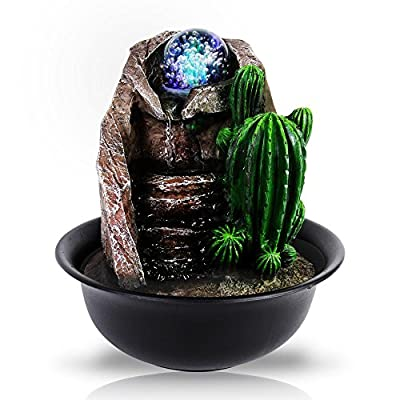 SereneLife Desktop Electric Water Fountain Decor w/ LED Illuminated Crystal Ball Accent - Indoor Outdoor Portable Tabletop Decorative Waterfall Kit Includes Submersible Pump & 12V Adapter