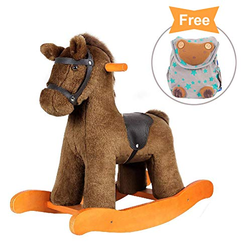 [Bonus for top 99] - Labebe Child Rocking Horse Toy, Stuffed Animal Rocker Toy, Brown Knight Horse Rocking Plush for Kid 1-3 Years, Wooden Rocking Horse Set/Outdoor Rocking Toy/Small Rocking Horse
