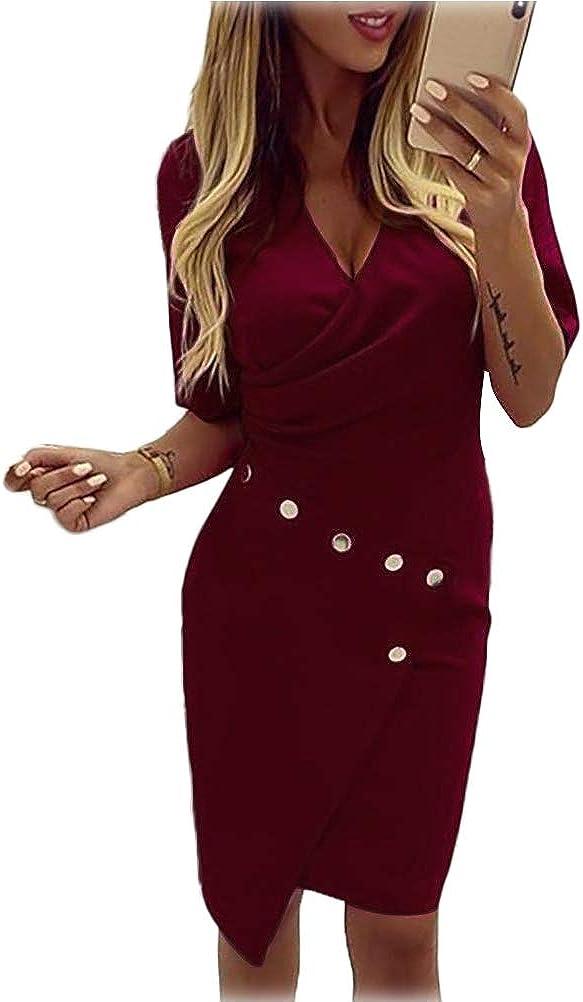 Sunnykud Damen Elegant V-Ausschnitt Kleid Business Kleider Bodycon Langarm Winterkleid Cocktailkleid Bleistiftkleid Gesch/äft Figurbetonte Knielang Pulloverkleid