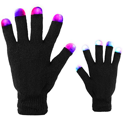 Led Gloves, DUZCLI Flashing Finger Light Up Gloves - Kids and Adult Size with Extra Batteries - for Rave, Halloween, Party Light show, Concerts, Disco, Party (Homemade Halloween Party Favors)