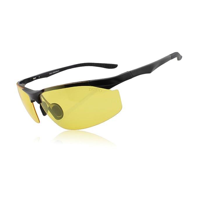DUCO Gafas de Visión Nocturna para Conducir para Hombres 8179 Marco Negro Lentes Tinte Amarillo: Amazon.es: Ropa y accesorios