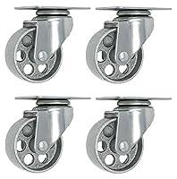 """4 All Steel Swivel Plate Caster Wheels Heavy Duty High-gauge Steel 1500lb total capacity Gray (3"""" Plate)"""