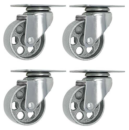 4 All Steel Swivel Plate Caster Wheels w Brake Lock Heavy Duty High-gauge Steel 1500lb total capacity Gray (3