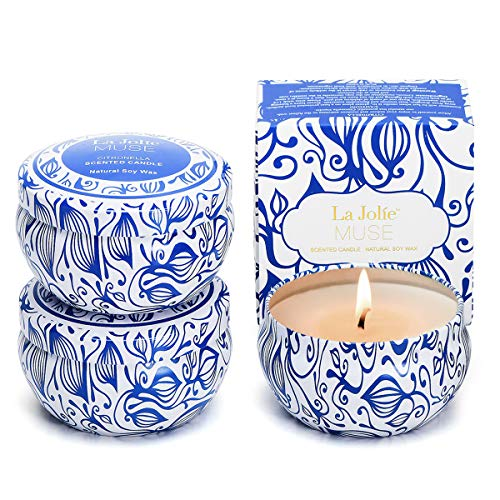 (LA JOLIE MUSE Citronella Candles Outdoor Set 3 - Natural Scented Soy Wax Candle Travel Tin 19.5oz, Indoor Gift)