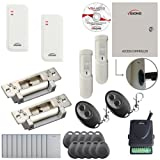Visionis FPC-6545 Two Door Access Control Electric Strike Fail Safe Fail Secure TCP/IP RS485 Wiegand Controller Software Outdoor White Card Reader EM Compatible 10000 User Wireless Receiver PIR Kit