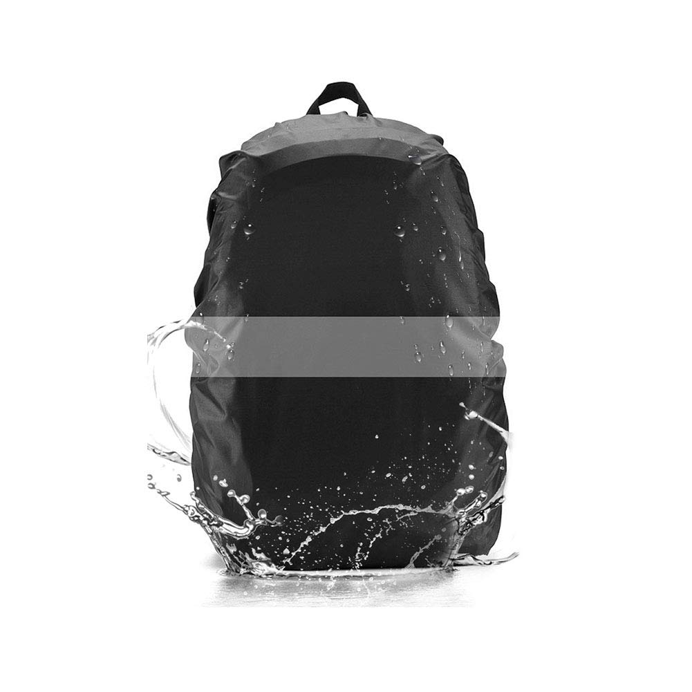 Waterproof Backpack Cover, Domserv Rucksack Rain Cover with Reflective Strip, 35L Nylon Adjustable Backpack Rainproof Cover for Hiking/Camping/Traveling/Outdoor Activities, Black