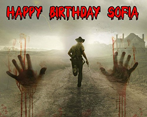 The Walking Dead TWD Daryl Rick Grimes Personalized Birthday Edible Frosting Image 1/4 sheet Cake Topper 7 -