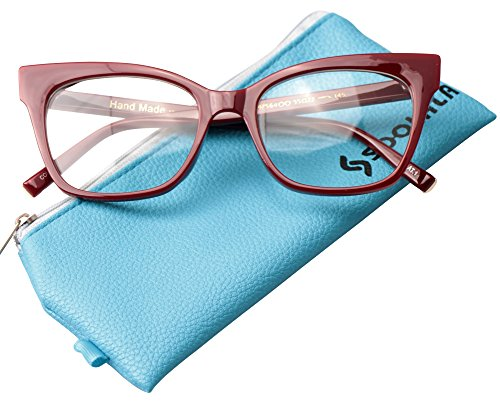 SOOLALA Vintage Stylish 53mm Lens Oversized Reading Glass Big Eyeglass Frame, Red, +3.0