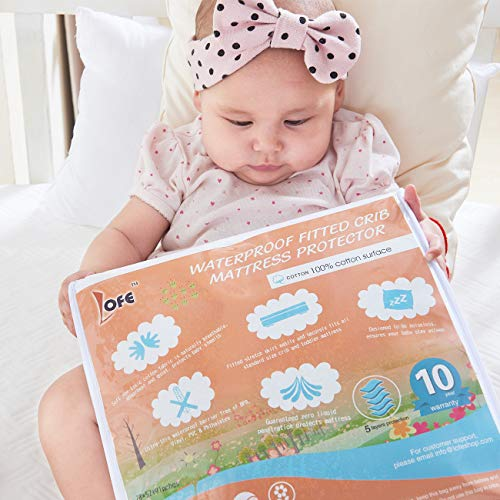 Lofe Cotton Fitted Crib Mattress Protector Waterproof - Infant Breathable Crib Mattress Pad - Toddler Baby Crib Mattress Cover28x52'' by Lofe