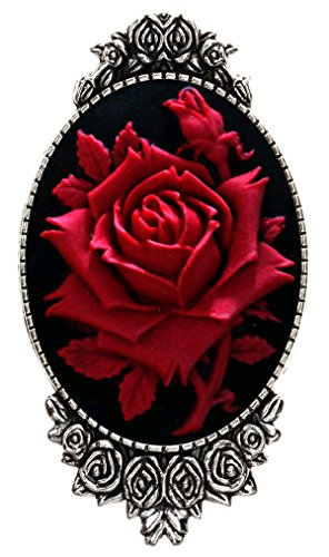 (Rose Flower Brooch Pin Rose Decor Antique Silver Fashion Jewelry Pouch for Gift)