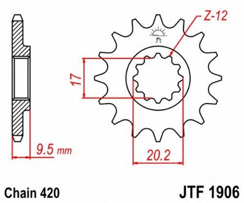 JT Sprockets JTF1906.14 14T Steel Front Sprocket