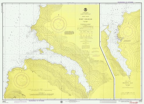 Map | Port Graham And Seldovia Bay, AK, 1975 Nautical NOAA Chart | Vintage Wall Art | 44in x 32in ()