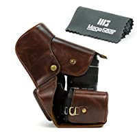 MegaGear Ever Ready Brown Leather Camera Case for EOS Rebel T6, T5i 18-55 IS 18-135 IS / Canon T4i 18-55 18-135 IS