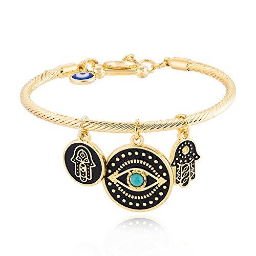 SENFAI Fashion Evil Eye Bracelet Unique Hamsa Bangle Gift Jewelry for Women Best Friend (Gold) (Evil Eye Fashion Bracelet)