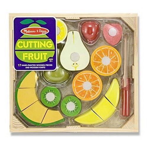 Melissa & Doug–Jouet en Bois à Découper Jouet Fruits avec la caisse, 30x 28x 5cm, multicolore