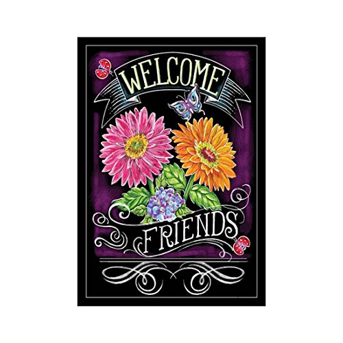 Custom Decor Flag Floral Welcome Friends Garden flags decorative flags initial flags party flags 28 x 40 Inch Double Sided banner home flags Print house (Happy Halloween Friends Pics)