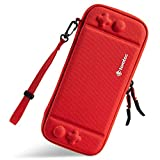 Ultra Slim Carrying Case Fit for Nintendo Switch, tomtoc Original Patent Portable Hard Shell Travel Case Pouch Protective Cover Bag, 10 Game Cartridges, Military Level Protection, Red