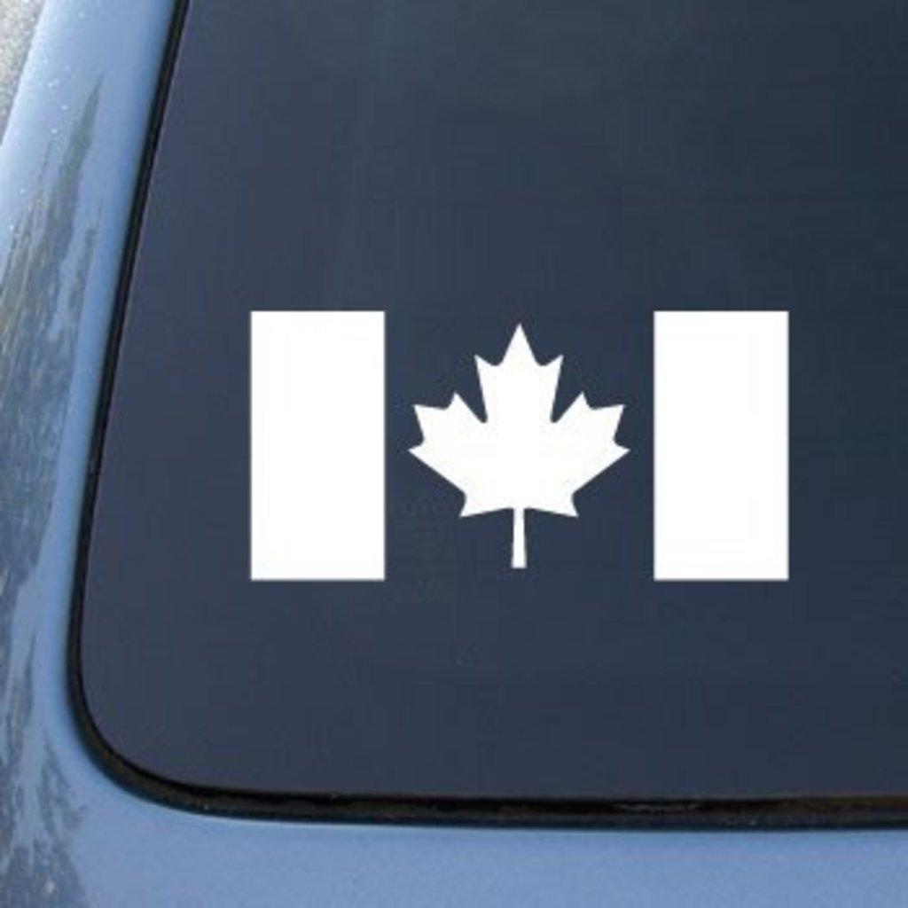 Premium White Vinyl Decal 5.8 X 2.9 CMI554 CANADA FLAG CANADIAN Die Cut Vinyl Car Decal Sticker for Car Window Bumper Truck Laptop Ipad Notebook Computer Skateboard Motorcycle