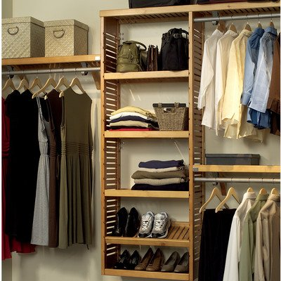 John Louis Home JLH-528 Premier 12-Inch Deep Closet Shelving System, Honey Maple (Linen Closet Shelving Systems)