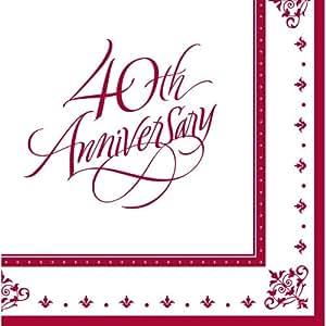 "Stafford Ruby 13"" Lunch Napkin 40th Anniversary - 36/Pkg."