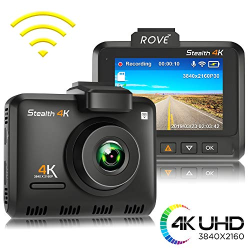"Rove Stealth 4K WiFi Car Dash Cam 2.35"" IPS UHD 3840 x 2160p 150° Wide Angle Dashboard Camera Recorder with 8MP CMOS Sensor, H.265, WDR, Time Lapse, 24/7 Parking Mode, 512GB SD Slot, GPS, App View"