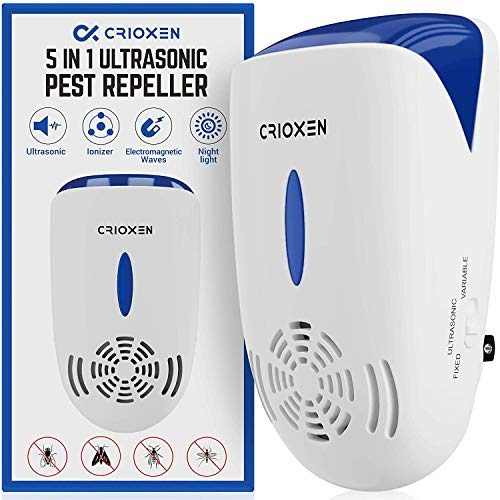 Crioxen Ultrasonic Pest Repeller Plug in - Electronic Portable Pet Safe - 5 in 1 Electromagnetic Waves Ultrasound Control - Repellent for Mice Rats Mosquitos Spiders Rodents Insects - Indoor
