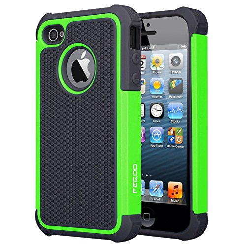 Case for iPhone 4, [Football face] Shockproof Durable Hybrid Dual Layer Armor Defender Full Body Protective Hard Plastic with Soft Silicone Case Cover for Apple iPhone 4 4S (Black Green)