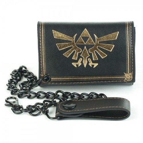 Nintendo Legends of ZELDA Logo Black Tri-Fold WALLET w/Chain - Logo Chain Wallet