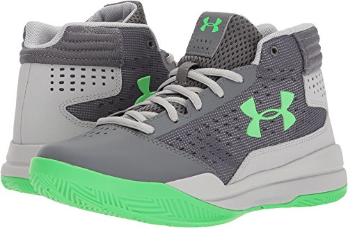 Under Armour Boys' Grade School Jet 2017 Basketball Shoe, Graphite (100)/Aluminum, 4