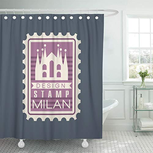 Originals Postmark (Emvency Waterproof Shower Curtains 72 x 72 Inches Original Rectangular Postmark with Milan Cathedral Sign with Monument Symbol with Historical Decor Polyester Fabric Bathroom Set with Hooks Eco)