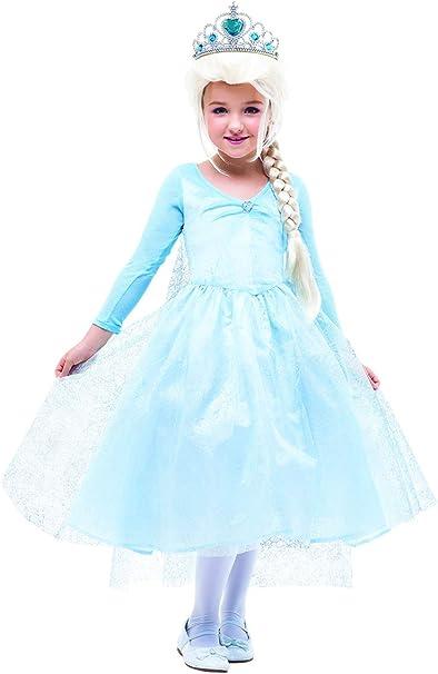 Vestido de Princesa Elsa con Corona Reina Frozen Disfraz Infantil ...