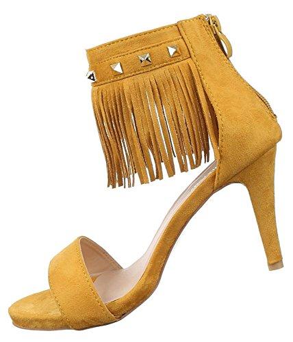 Damen Sandaletten Schuhe High Heels Fransen Stilettos Pumps Schwarz Beige Camel Rot Gelb 36 37 38 39 40 41 Gelb
