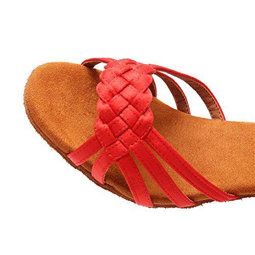 ballroom Rojo Modelo 5cm tacón latin Zapatos lp218 De Swdzm Mujer Baile wPqvXS