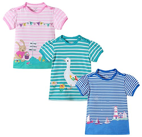 little bitty 3 Piece Pack Girl's Short Sleeve T-Shirts embroidered shirt &Tees