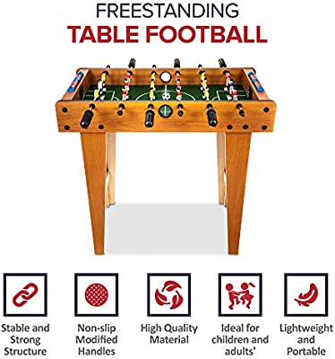 Wicked GIZMOS - Juego de Mesa de fútbol con Patas - Tabla de fútbol de Madera Incluye 9 Jugadores por Lado y 2 Pelotas - Diseño clásico Retro: Amazon.es: Juguetes y juegos