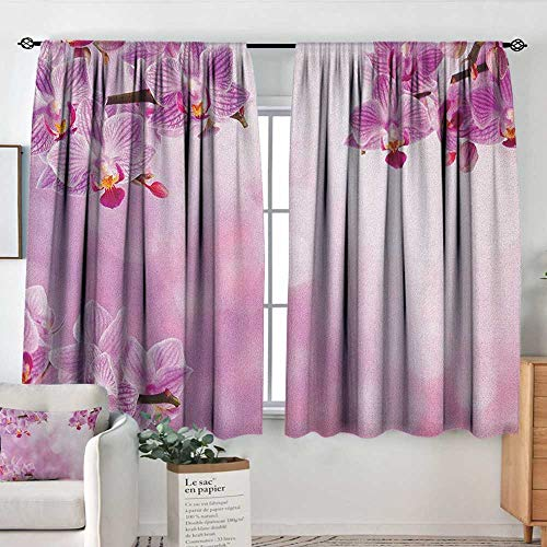 Sheer Curtains Spa,Orchid Petals in Monochrome Design Bouquet Spring Bloom Seedling Growth Peaceful Nature Print, Pink,Decor Collection Thermal/Room Darkening Window Curtains ()