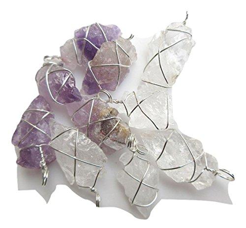 20 Wire Wrapped Arrowhead,Quartz Crystal Silver Arrowhead Pendant,Amethyst Electroplated Raw -