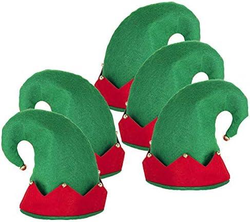 ANSUG 5 Pezzi Cappello da Elfo Natalizio per Bambini novità Cappello da Elfo da Elfo Costume da Elfo di Babbo Natale Accessorio per Vestire Fantasia (Rosso Verde)